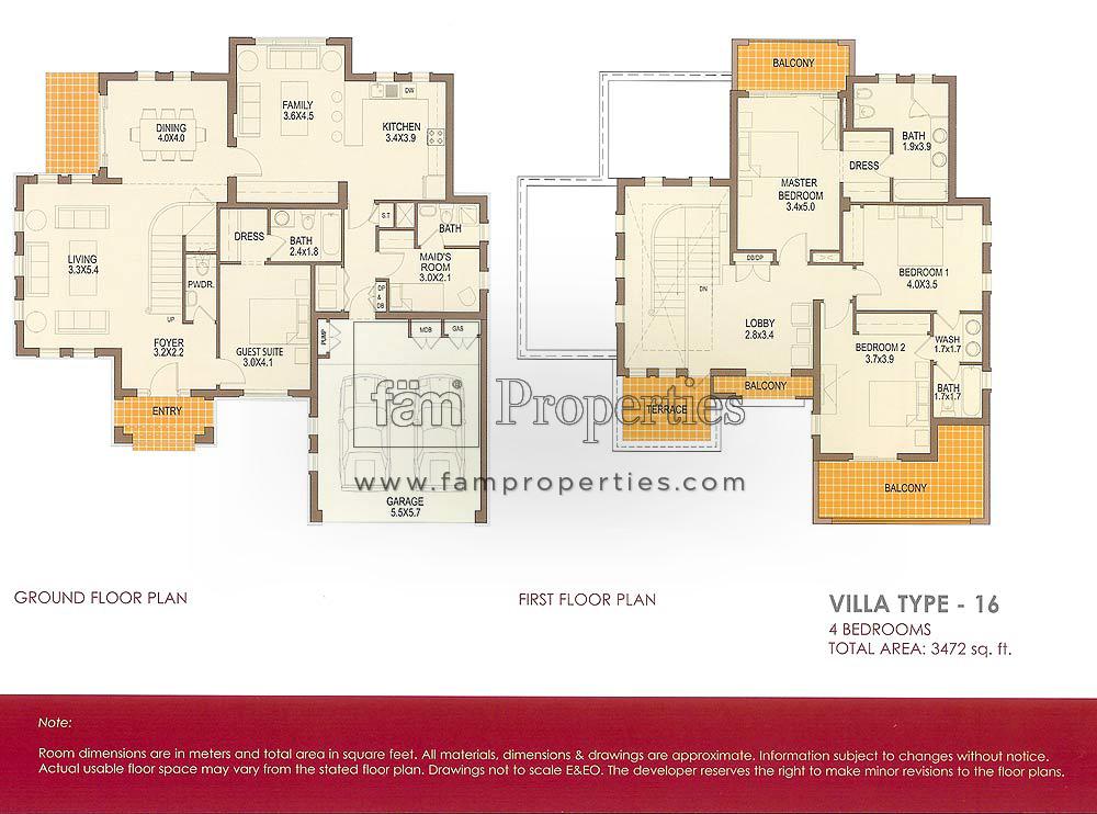 Floor Plans Arabian Ranches Townhouses Amp Villas Emaar
