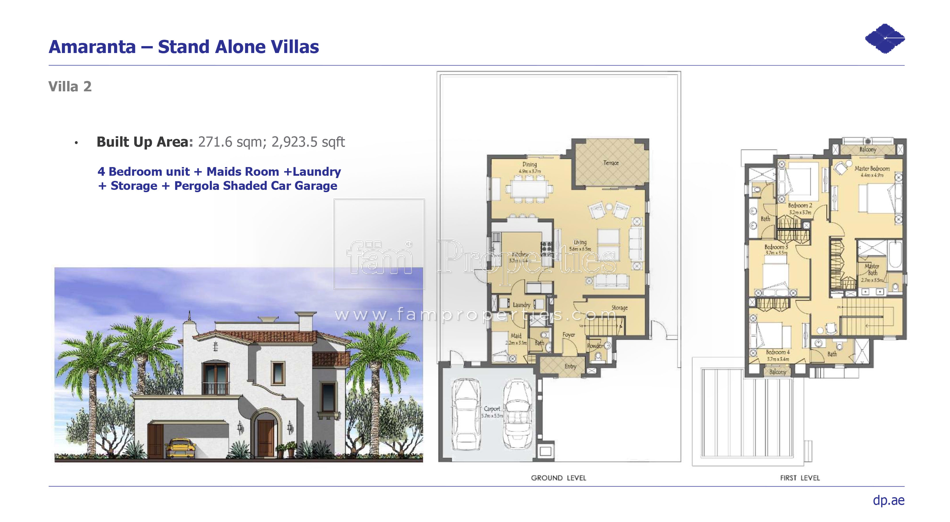 Floor plans villanova dubai land by dubai properties for 4 bedroom villa designs