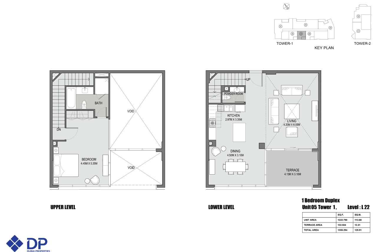 Floor plans bellevue towers downtown dubai for 1 bedroom duplex floor plans