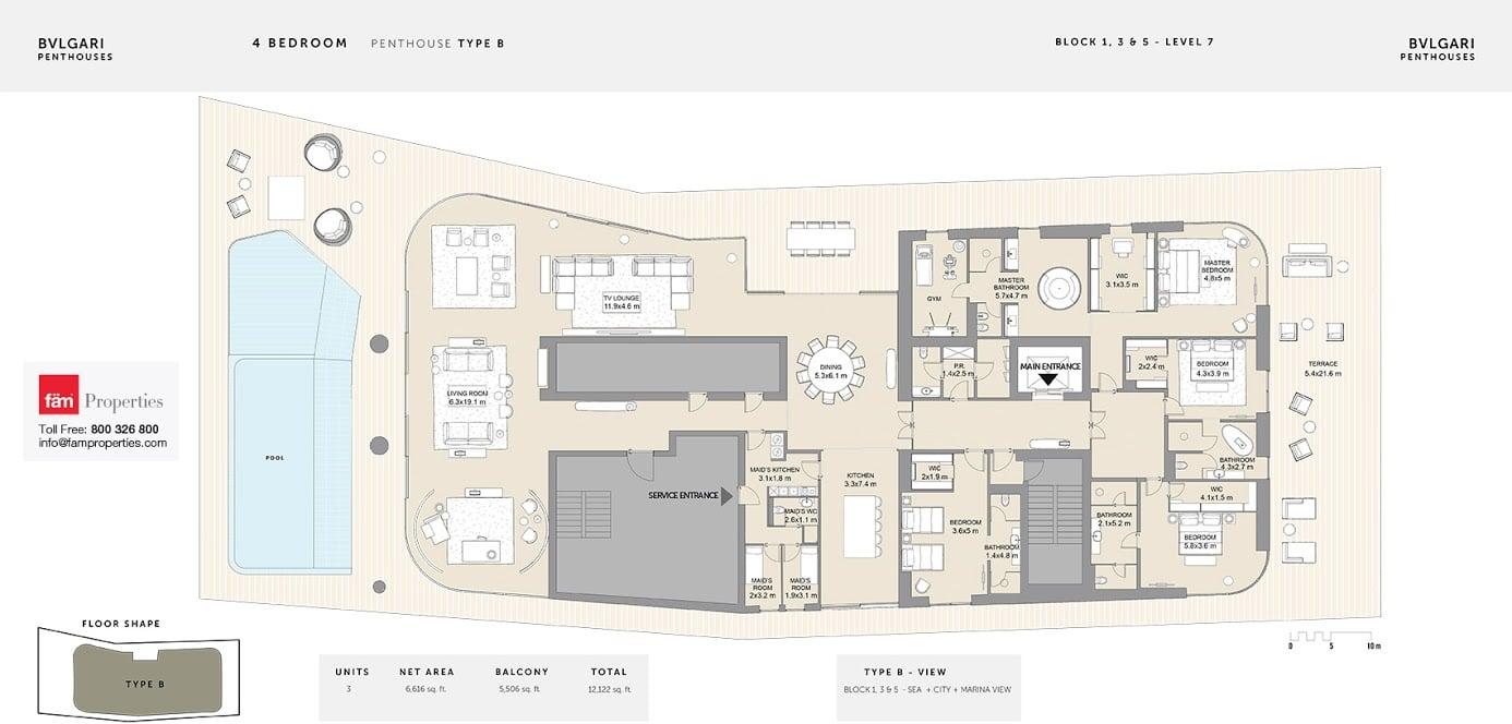Floor plans bulgari residences jumeirah bay island by meraas for Floor plans jumeirah islands