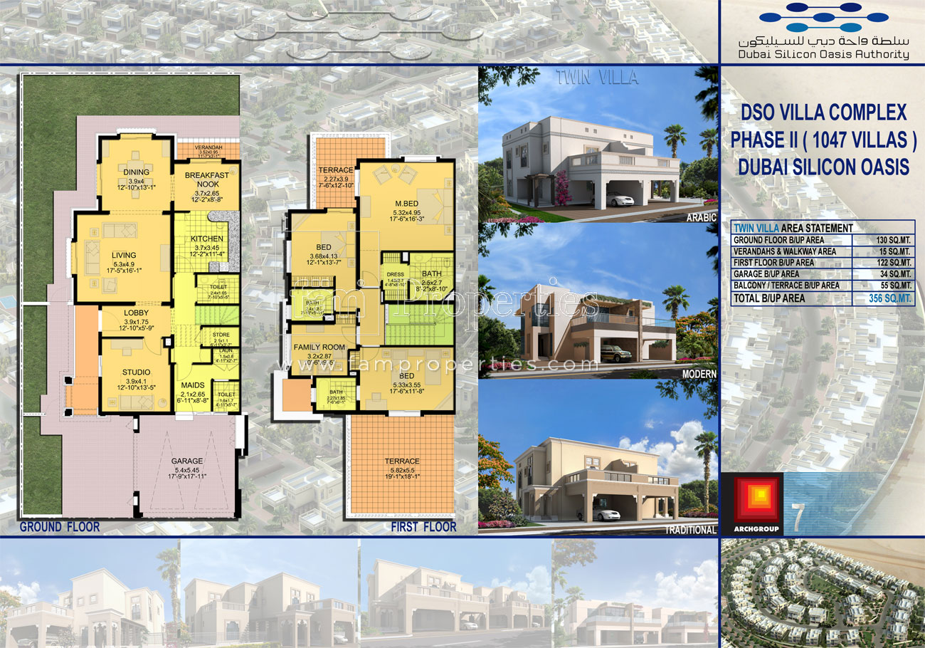 Floor plans cedre villas silicon oasis by dubai silicon for 4 bedroom villa plans