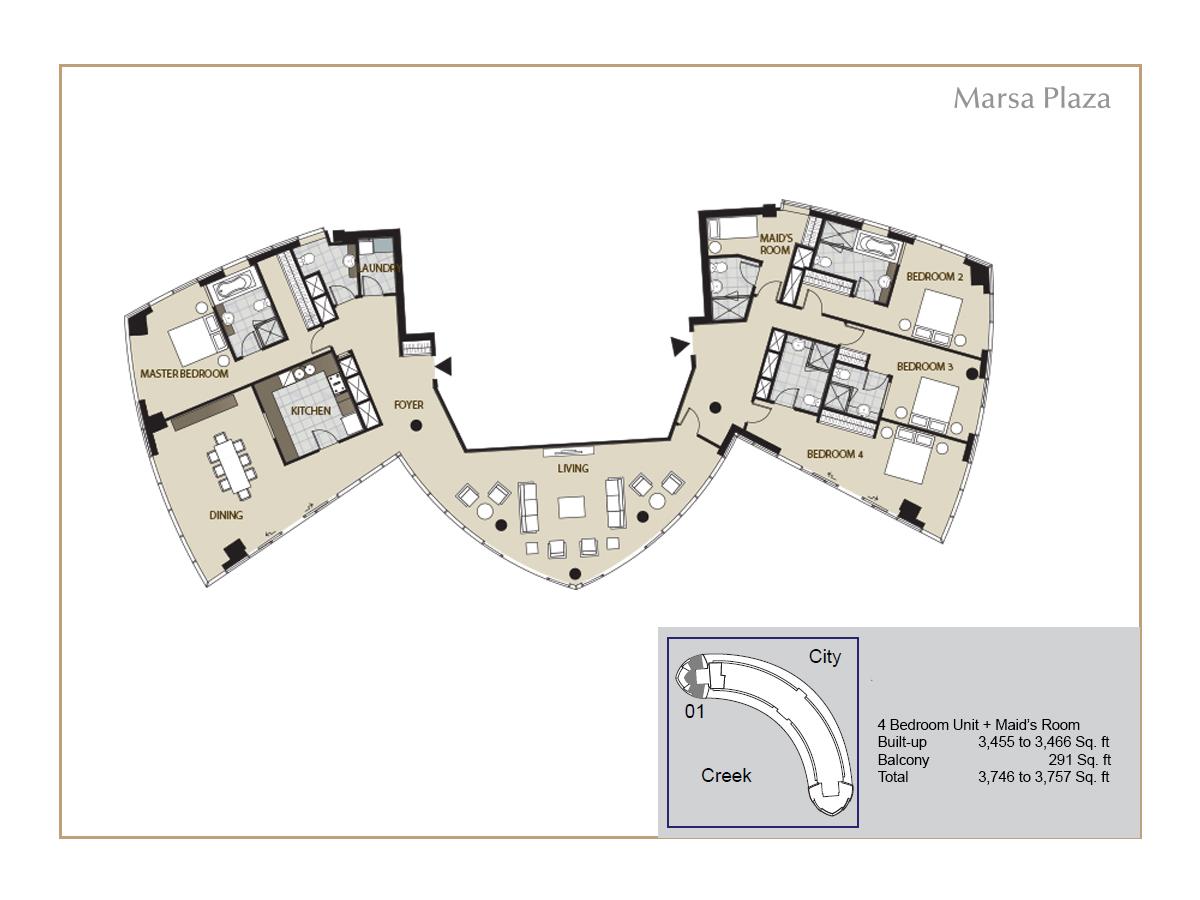 Floor Plans Marsa Plaza Dubai Festival City Dfc By Al Futtaim