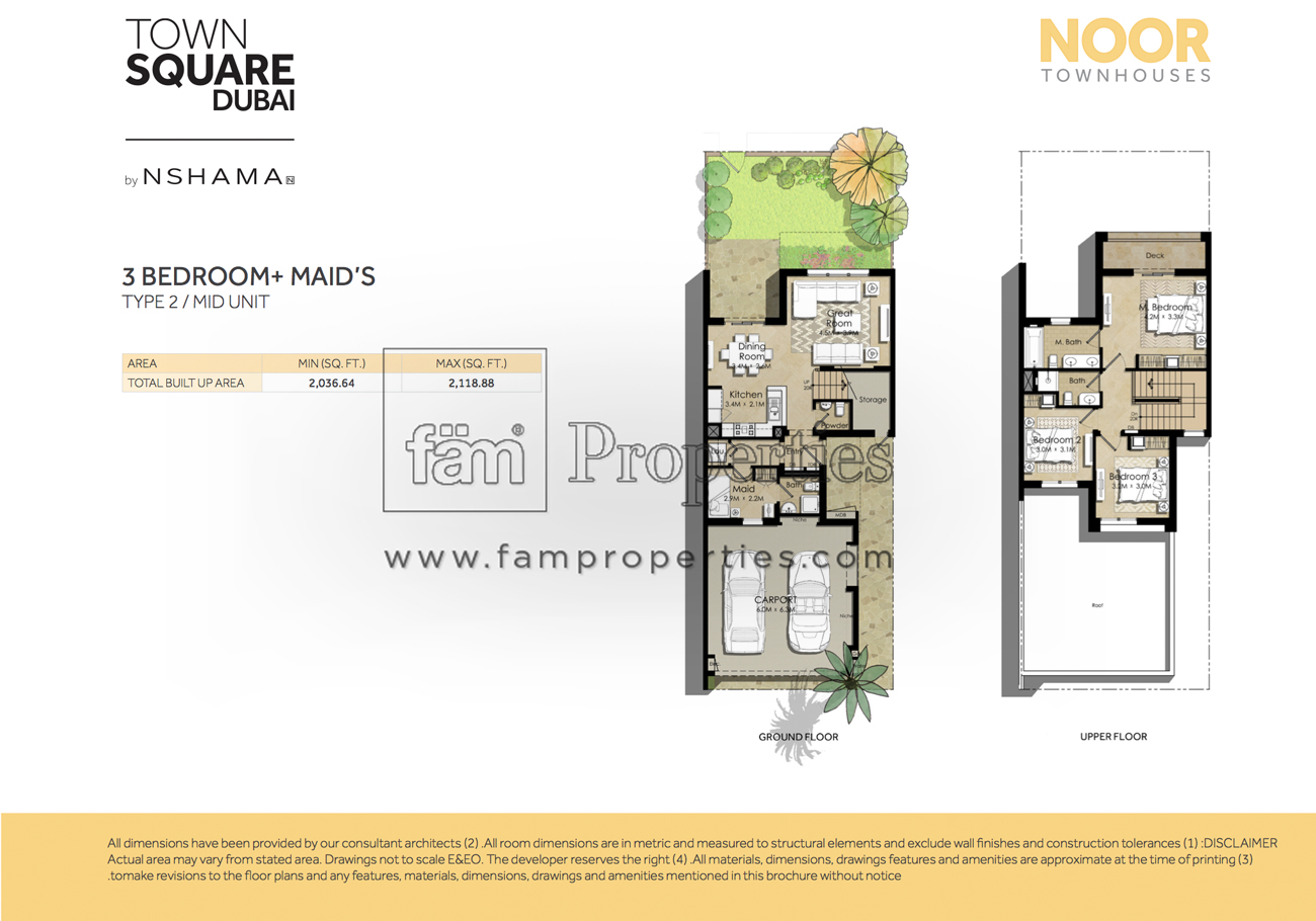 Floor plans noor townhouses town square by nshama for Townhouse layout 3 bedrooms