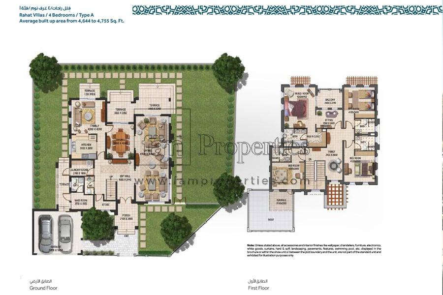 Floor plans mudon villas townhouses dubailand for 4 bedroom villa plans