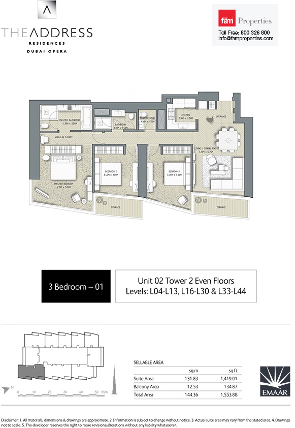 Floor plans the address residences dubai opera downtown for Floor plans by address