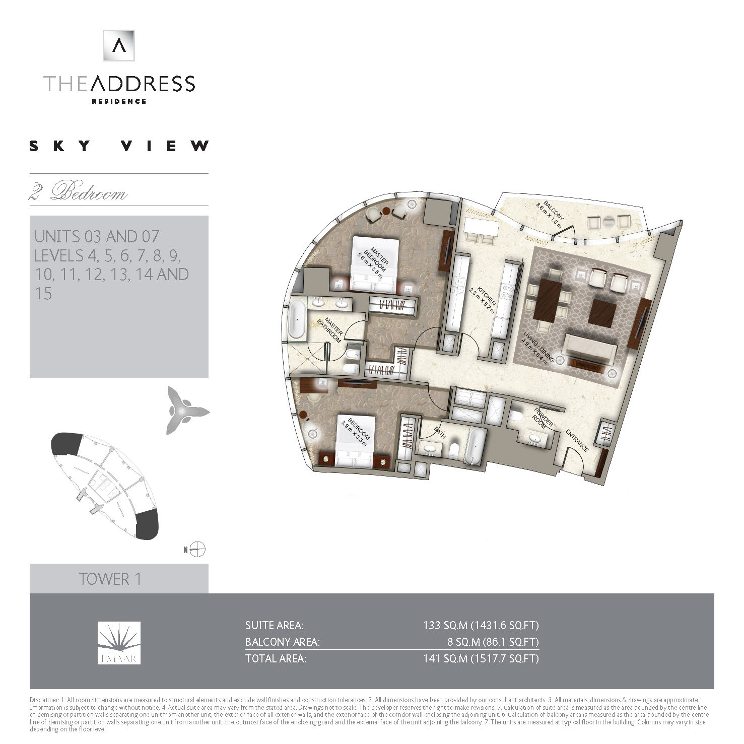 Floor plans the address sky view towers downtown dubai for Floor plans by address
