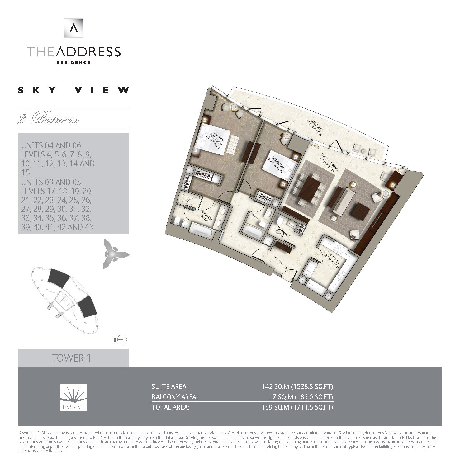 Floor plans the address sky view towers downtown dubai for View floor plans