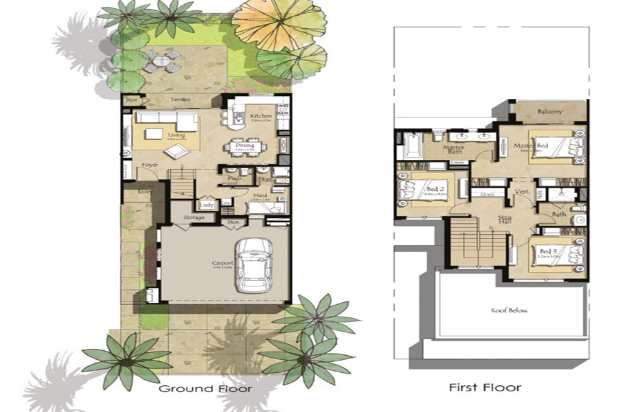 Floor Plans Zahra Townhouses Town Square by NSHAMA